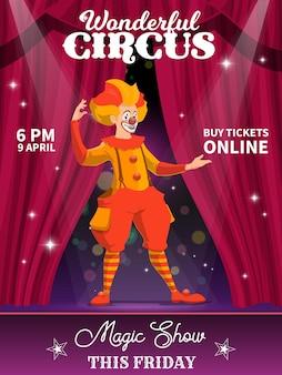 Shapito-zirkusplakat, zeichentrick-clown. vektorflieger mit narren, der auf der bühne eine zaubershow mit vorhängen und scheinwerfern durchführt künstlerdarsteller auf großer top-arena. funster im hellen kostüm