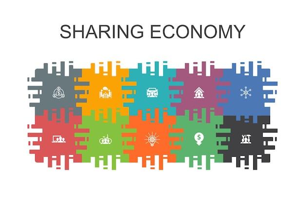 Sharing economy-cartoon-vorlage mit flachen elementen. enthält symbole wie coworking, carsharing, crowdfunding, innovation