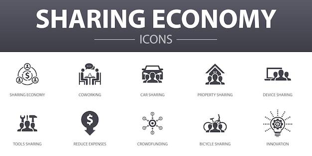 Sharing economy einfaches konzept icons set. enthält symbole wie coworking, carsharing, crowdfunding, innovation und mehr, kann für web, logo, ui/ux verwendet werden
