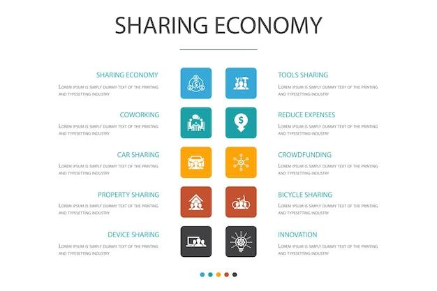 Sharing economy infografik 10 option concept.coworking, carsharing, crowdfunding, innovation einfache symbole