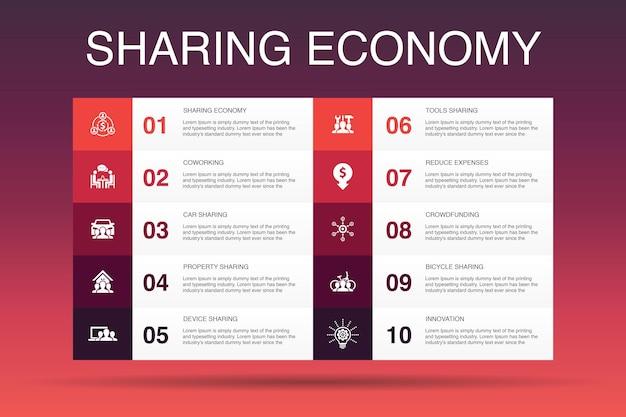 Sharing economy infografik-design-vorlage. coworking, carsharing, crowdfunding, innovation einfache symbole