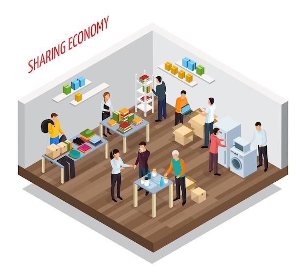 Sharing economy isometrische zusammensetzung mit blick auf raum mit waren und privaten gegenständen für den unentgeltlichen transfer