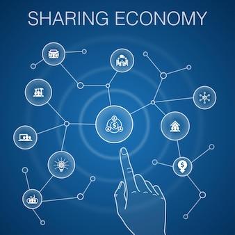 Sharing economy-konzept, blauer hintergrund. coworking, carsharing, crowdfunding, innovationssymbole