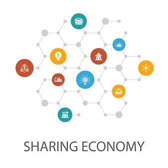 Sharing economy-präsentationsvorlage, cover-layout und infografiken. coworking, carsharing, crowdfunding, innovationssymbole
