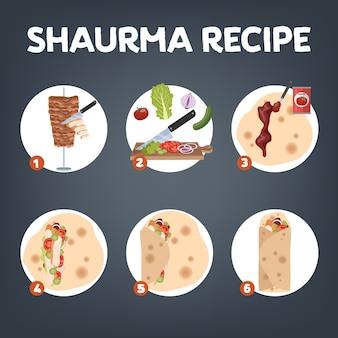 Shaurma rezept. leckeres abendessen mit rindfleisch, zwiebeln