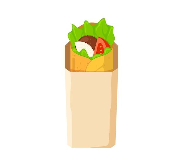Shawarma-fast-food-fleischrolle in papierverpackung arabische östliche toasty döner kebab mahlzeit cartoon