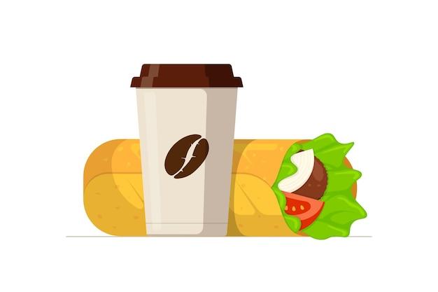 Shawarma-fast-food-fleischrolle und einweg-pappbecher mit kaffeebohnen-araber-ost-toasty-döner