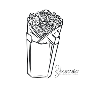 Shawarma oder hühnerverpackung in papierverpackungsumriss