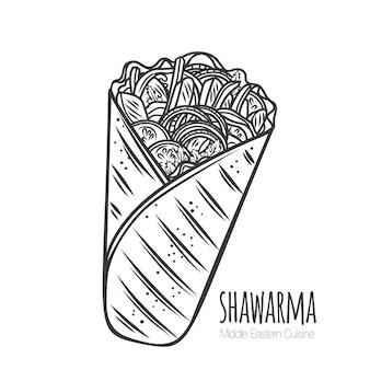 Shawarma oder hühnerwickel-umrissikone