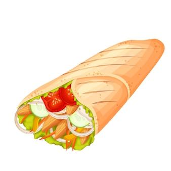 Shawarma oder hühnerwickelikone