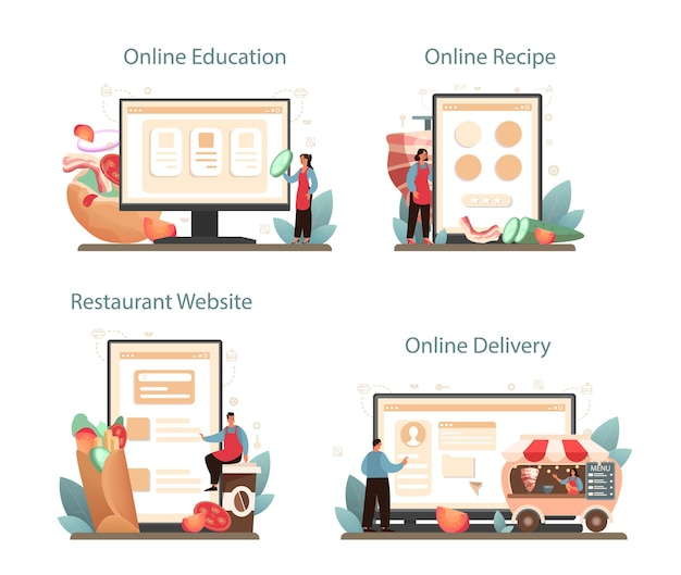 Shawarma online-service oder plattform-set