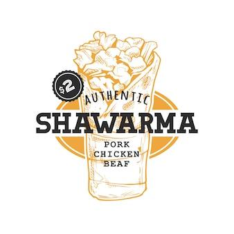 Shawarma-retro-emblem. logo-vorlage mit schwarzem text und gelber döner-skizze auf weißem hintergrund. eps10-vektor-illustration.