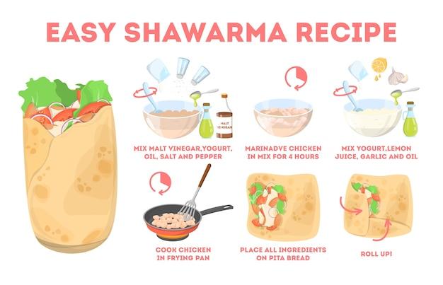 Shawarma-rezept. leckeres abendessen mit hühnchen, zwiebel