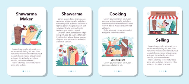 Shawarma street food mobile app banner set koch köstlich kochen