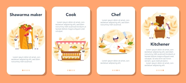 Shawarma street food mobile application banner set. chefkoch, der köstliches brötchen mit fleisch, salat und tomate kocht. kebab fast-food-café. vektorillustration im karikaturstil Premium Vektoren
