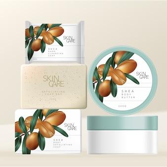 Shea butter körperpeeling und hand- oder gesichtsreinigungsseife & körperbutterglasverpackung mit minimalem shea buttermuttern-illustrationsdruck.