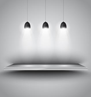 Shef mit 3 strahler lampe mit gerichtetem licht