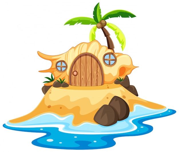 Shell märchenhaus auf dem strandkarikaturstil auf weißem hintergrund