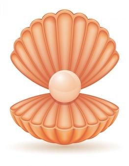 Shell mit perlenvektorillustration