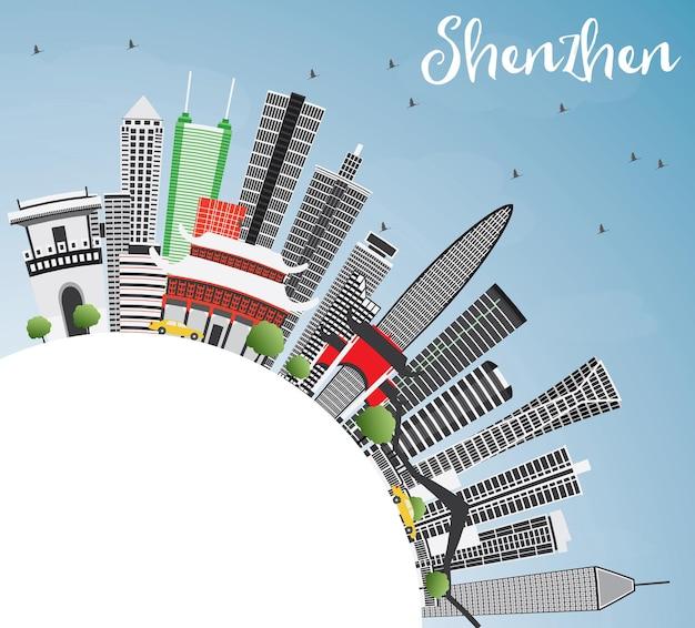 Shenzhen skyline mit grauen gebäuden, blauem himmel und textfreiraum. vektor-illustration. geschäftsreise- und tourismuskonzept mit moderner architektur. bild für präsentationsbanner-plakat und website.