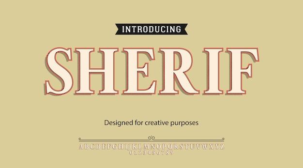 Sherif-schrifttypographie-alphabet mit buchstaben und zahlen