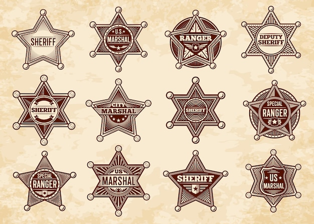 Sheriff-, marschall- und ranger-stars, abzeichen. vintage vintage-insignien der polizei von wild west us.