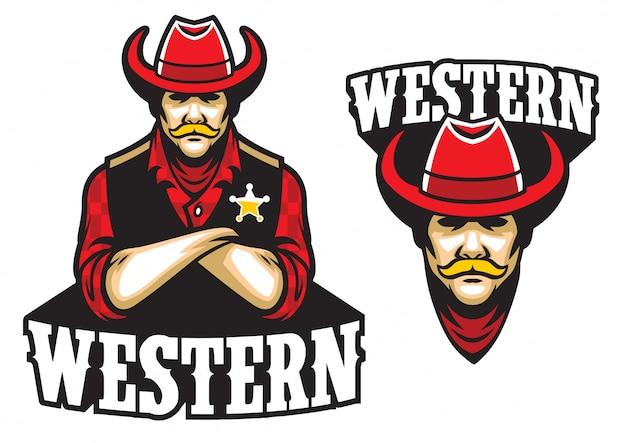 Sheriff maskottchen mit gekreuzten armen
