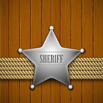 Sheriffs abzeichen auf einem holz