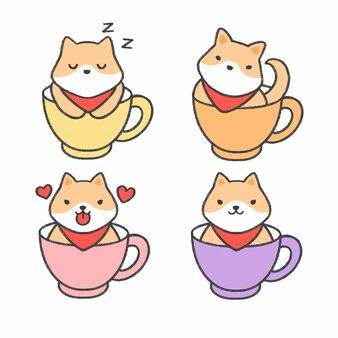 Shiba inu hund in einer tasse tee hand gezeichnete karikatursammlung