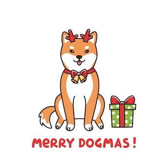 Shiba inu in hirschassistent weihnachtsmann frohe dogmen wortspiel bedeutung frohe weihnachten