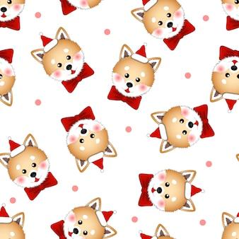 Shiba inu santa claus hund mit rotem band