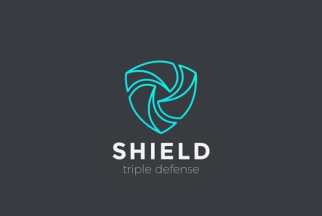 Shield teamwork schützt das verteidigungslogo. linearer stil.