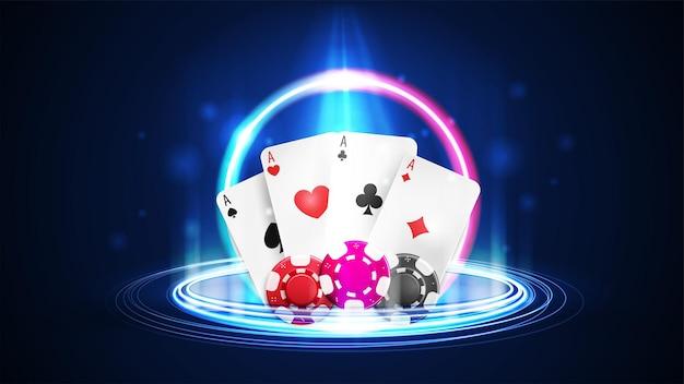 Shine neon casino spielkarten mit pokerchips und digitalem neonhologramm in zylindrischer form mit partikeln und glänzenden ringen im dunklen raum