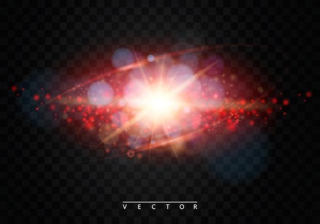 Shining star, die sonne partikel und funken mit einem highlight-effekt, farbe bokeh lichter glitzern und pailletten.