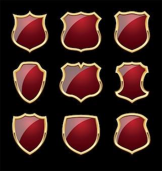 Shinny shield mit goldenen rahmen