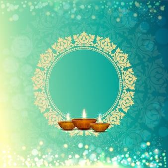Shiny floral hintergrund für happy diwalii feier.