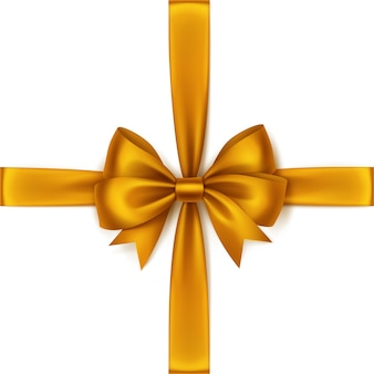 Shiny orange yellow satin schleife und band draufsicht nahaufnahme isoliert