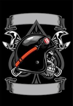 Shirt design schädel des bikers mit spaten und gekreuztem schraubenschlüssel