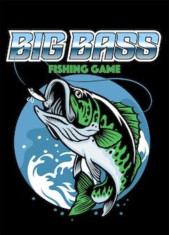Shirt-design zum fangen von großen barschfischen