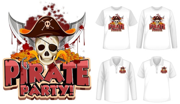 Shirt-set mit piraten-party-cartoon