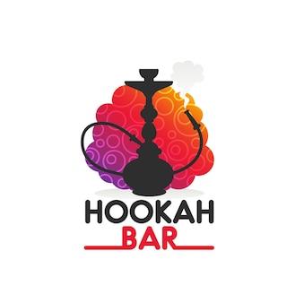 Shisha-bar-symbol mit schwarzer shisha- oder nargila-silhouette