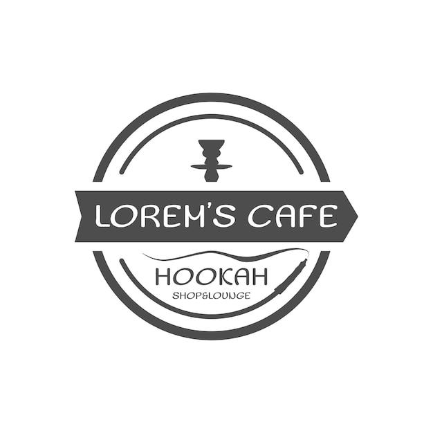 Shisha entspannen label, abzeichen. vintage-shisha-logo. lounge-café-emblem. arabische bar oder haus. isoliert. vektorillustration auf lager. monochromes design.