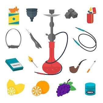 Shisha icon set traditionelle rauchgeräte.