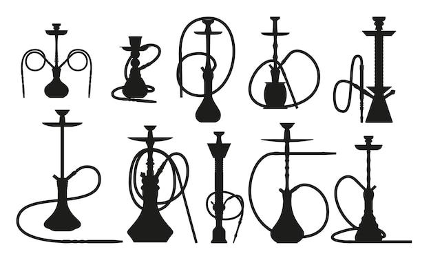 Shisha-silhouette mit pfeife zum rauchen von tabak und shisha