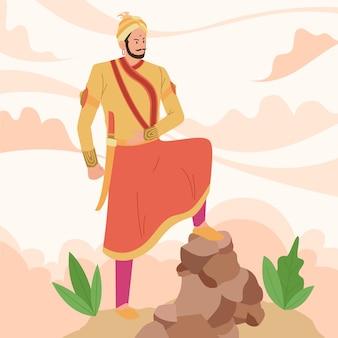 Shivaji maharaja illustrationskonzept