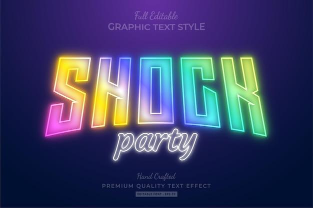 Shock party holografischer bearbeitbarer texteffekt-schriftstil