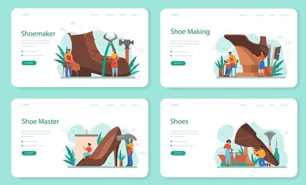 Shoemaker web landing page set. männlicher und weiblicher charakter, der einen schürzenreparaturschuh trägt. handgefertigte schuhe, retro-herstellung. isolierte vektorillustration