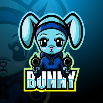 Shooter bunny maskottchen esport illustration