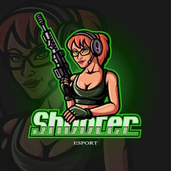 Shooter frau maskottchen esport-logo