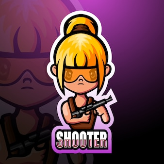 Shooter girl maskottchen esport illustration